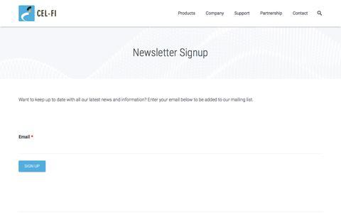 Screenshot of Signup Page cel-fi.com - Newsletter Signup - captured July 3, 2016