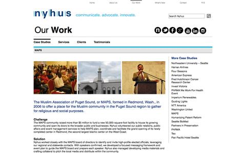 Screenshot of Maps & Directions Page nyhus.com - Nyhus Communications | PR, Public Affairs and Executive Communications | MAPS - captured Oct. 9, 2014