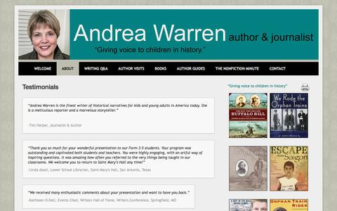 Screenshot of Testimonials Page andreawarren.com - Testimonials – ANDREA WARREN - captured June 29, 2018