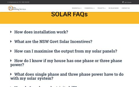 Screenshot of FAQ Page rksolar.net - Solar Frequently Asked Questions - RK Solar - captured April 20, 2019