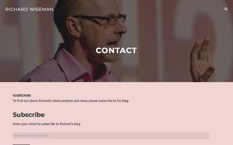 Screenshot of Contact Page wordpress.com - Contact – Richard Wiseman - captured Sept. 22, 2018
