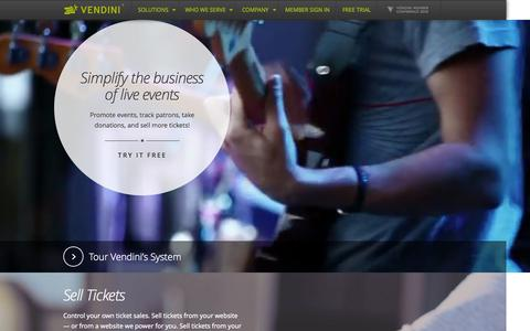Screenshot of Home Page vendini.com - Ticketing, Box Office Software, Event Promotion, Event Management & Logistics | Vendini - captured Oct. 22, 2015