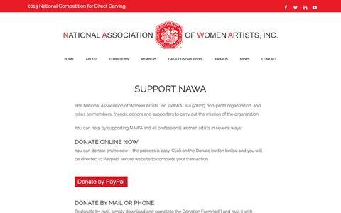 Screenshot of Support Page thenawa.org - Support NAWA - National Association of Women Artists, Inc. | NAWA - captured Oct. 18, 2018