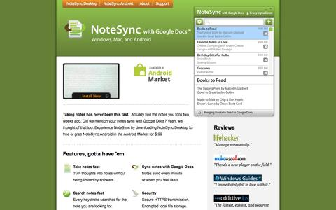 Screenshot of Home Page notesync.com - NoteSync with Google Docs - captured Oct. 9, 2015