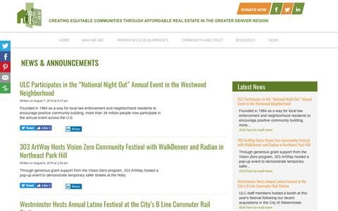 Screenshot of Press Page urbanlandc.org - News & Annoucements from the Urban Land Conservancy - captured Aug. 19, 2019