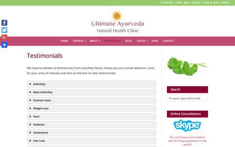 Screenshot of Testimonials Page ayurvedic.co.nz - Testimonials - Ultimate Ayurveda - captured Oct. 18, 2018