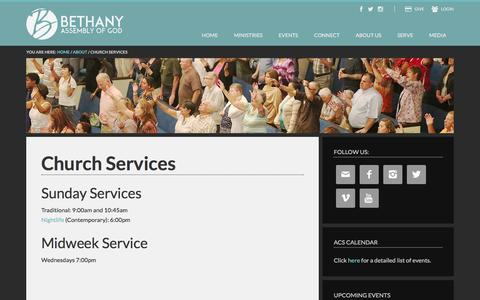 Screenshot of Services Page bethany-ag.org - Church Services - captured Feb. 7, 2016