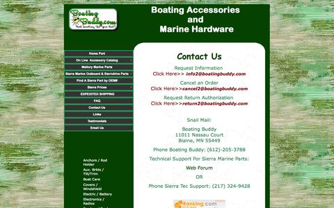 Screenshot of Contact Page boatingbuddy.com - Contact us for Boat Accessories and Marine Hardware by Boating Buddy Minnesota - captured Oct. 5, 2014