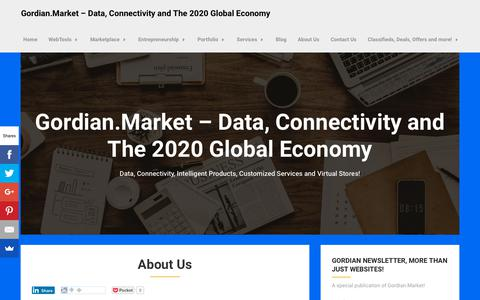 Screenshot of About Page gordian.market - About Us - Gordian.Market - Data, Connectivity and The 2020 Global Economy - captured Nov. 2, 2018