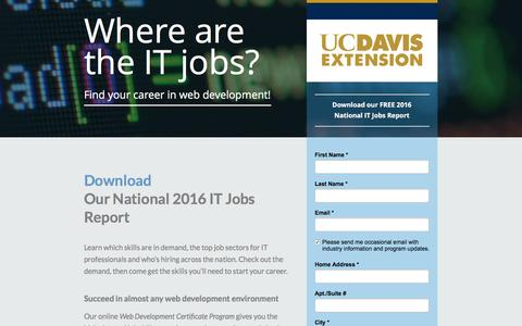 Screenshot of Landing Page ucdavis.edu - Where are the IT jobs? Find your career in web development! - captured Oct. 23, 2016