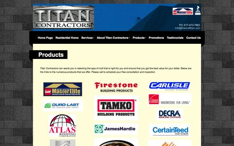 Screenshot of Products Page therooftitan.com - Titan Contractors | Our Quality Products - captured Oct. 7, 2014