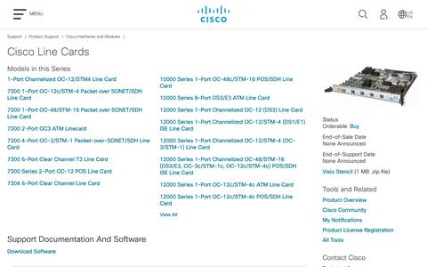 Screenshot of Support Page cisco.com - Cisco Line Cards - Support & Downloads - Cisco - captured May 10, 2019