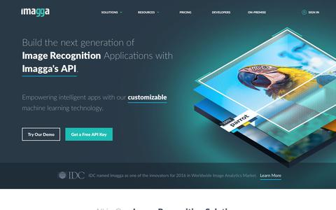Screenshot of Home Page imagga.com - Imagga - powerful image recognition APIs for automated categorization & tagging in the cloud and on-premises. - captured Jan. 7, 2018