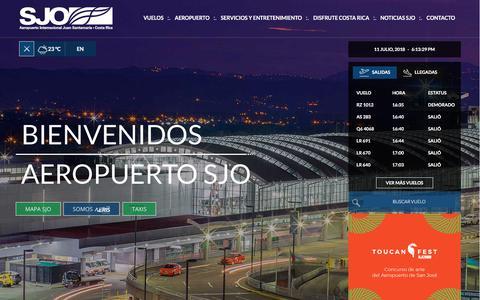 Screenshot of Home Page sjoairport.com - Sitio Web Oficial - Aeropuerto Internacional Juan Santamaría (SJO) - captured July 11, 2018