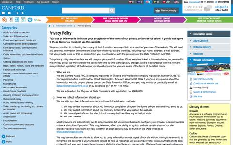Screenshot of Privacy Page canford.co.uk - Privacy policy - Canford - captured Sept. 19, 2014