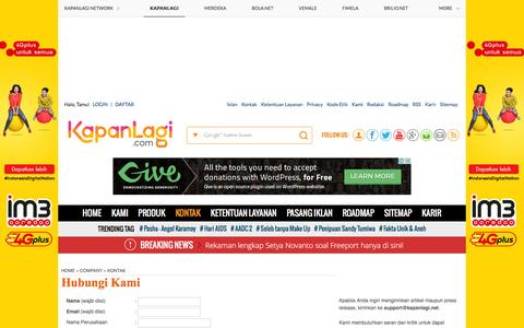 Screenshot of Contact Page kapanlagi.com - Hubungi Kami - KapanLagi.com - captured Dec. 2, 2015