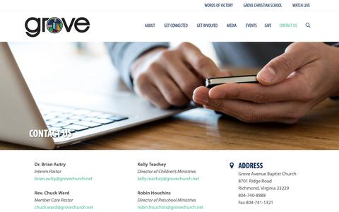 Screenshot of Contact Page groveave.com - Contact Us   Grove Avenue Baptist Church - captured Sept. 30, 2018