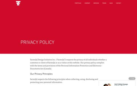 Screenshot of Privacy Page factore.ca - factor[e] :: Privacy Policy - captured Feb. 10, 2016