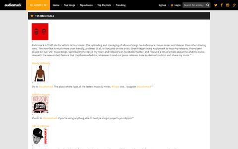 Screenshot of Testimonials Page audiomack.com - Testimonials | Audiomack - captured Sept. 18, 2014
