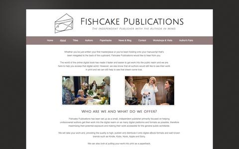 Screenshot of About Page fishcakepublications.com - Fishcake Publications - About - captured Aug. 14, 2018