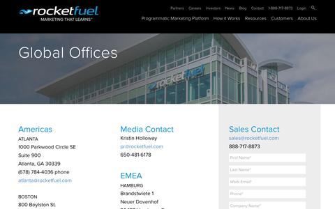 Screenshot of Locations Page rocketfuel.com - Global Offices - Rocket Fuel - captured Aug. 10, 2016