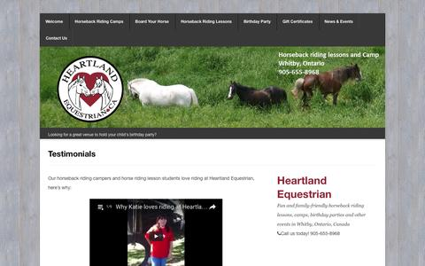 Screenshot of Testimonials Page heartlandequestrian.ca - Find out why we love Heartland Equestrian from our many testimonials | Heartland Equestrian - captured Nov. 6, 2016