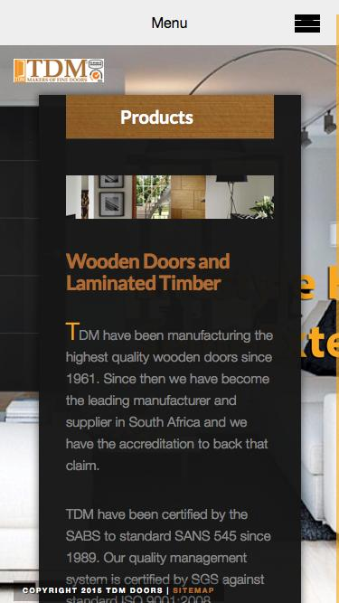 Screenshot of Products Page tdm.co.za - Products | Wooden Doors | TDM & Low traffic Construction iPhone 6 Products Pages on WordPress ...