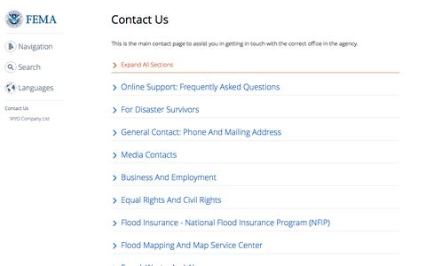 Screenshot of Contact Page fema.gov - Contact Us | FEMA.gov - captured June 4, 2017