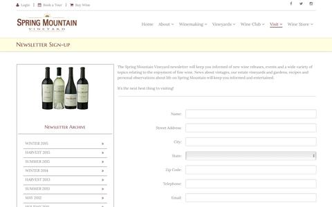 Screenshot of Signup Page springmountainvineyard.com - Spring Mountain Vineyard: Visit - captured Oct. 27, 2016