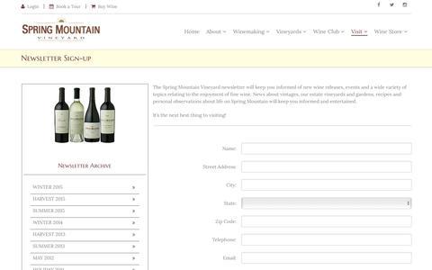 Screenshot of Signup Page springmountainvineyard.com - Spring Mountain Vineyard: Visit - captured Oct. 27, 2016