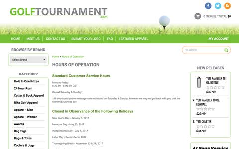 Screenshot of Hours Page golftournament.com - Hours of Operation - captured Feb. 16, 2018