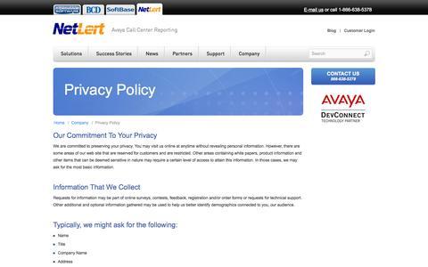 Screenshot of Privacy Page netlert.com - NetLert - Privacy Policy - captured Oct. 7, 2014