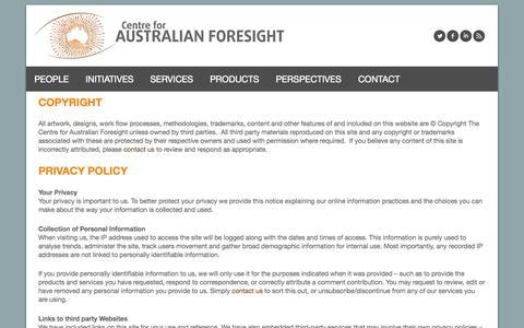 Screenshot of Terms Page cfaf.com.au - Legal  | Centre for Australian Foresight - captured Oct. 2, 2014