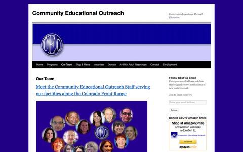 Screenshot of Team Page ceocolorado.org - Our Team | Community Educational Outreach - captured Nov. 9, 2016