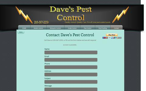 Screenshot of Contact Page davesbugs.com - Contact Daves Pest Control - captured Nov. 23, 2016