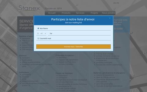 Screenshot of Services Page stanex.com - Stanex | Services - captured Dec. 9, 2016