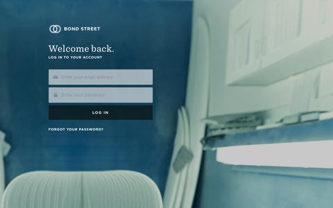 Screenshot of Login Page bondstreet.com - Bond Street | Simple, transparent, fair business financing - captured Feb. 8, 2016