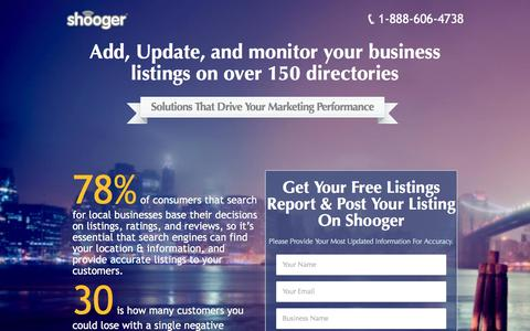 Screenshot of Landing Page shooger.com - Get a Free Listing Report | and | A Free Reputation Report | to | Grow Your Small Business - captured July 19, 2016