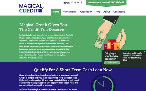Screenshot of Home Page magicalcredit.ca - Toronto Bad Credit Loans | Online Loans | Cash Loans | Magical Credit - captured Jan. 21, 2015