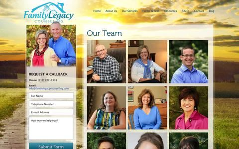 Screenshot of Team Page familylegacycounseling.com - Our Team | - captured Sept. 30, 2014