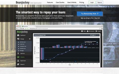 Screenshot of Home Page beanjockey.com - BeanJockey | Debt Optimization - captured Sept. 13, 2014