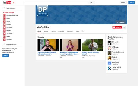 Screenshot of YouTube Page youtube.com - deafpolitics  - YouTube - captured Oct. 23, 2014