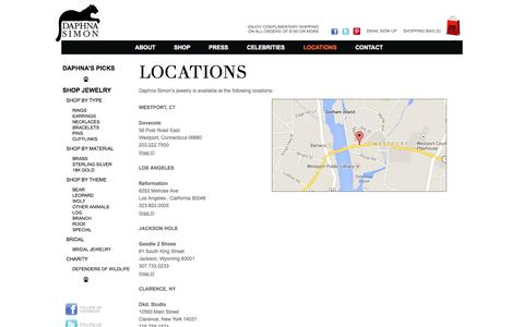 Screenshot of Locations Page daphnasimon.com - Daphna Simon Jewelry | Locations - captured Oct. 5, 2014