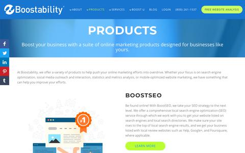 Screenshot of Products Page boostability.com - Online Marketing Products - captured Jan. 9, 2019