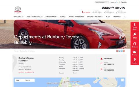 Screenshot of Maps & Directions Page bunburytoyota.com.au - Departments - Bunbury Toyota | Bunbury Dealership - captured Aug. 4, 2018