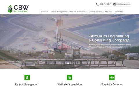 Screenshot of Home Page cbwresourceconsultants.com - CBW Engineering | Petroleum Engineering & Consulting Company - captured June 16, 2015