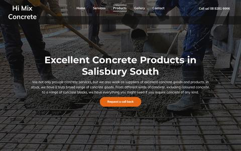Screenshot of Products Page himixconcrete.com.au - Residential and Commercial Concrete | Salisbury South - captured Nov. 5, 2018