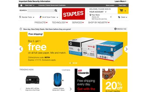Screenshot of Home Page staples.com - Office Supplies, Printer Ink, Toner, Computers, Printers & Office Furniture | Staples® - captured Jan. 15, 2015