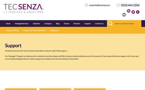 Screenshot of Support Page tecsenza.com - Managed IT Services | Desktop & Mobile IT Management | Tecsenza - captured Sept. 21, 2018