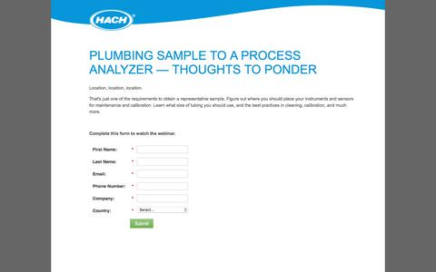 Screenshot of Landing Page hach.com - 1533-WBNR-Plumbing Sample to a Process Analyzer-US-en.15-US-en-Landing Page - captured Nov. 9, 2019